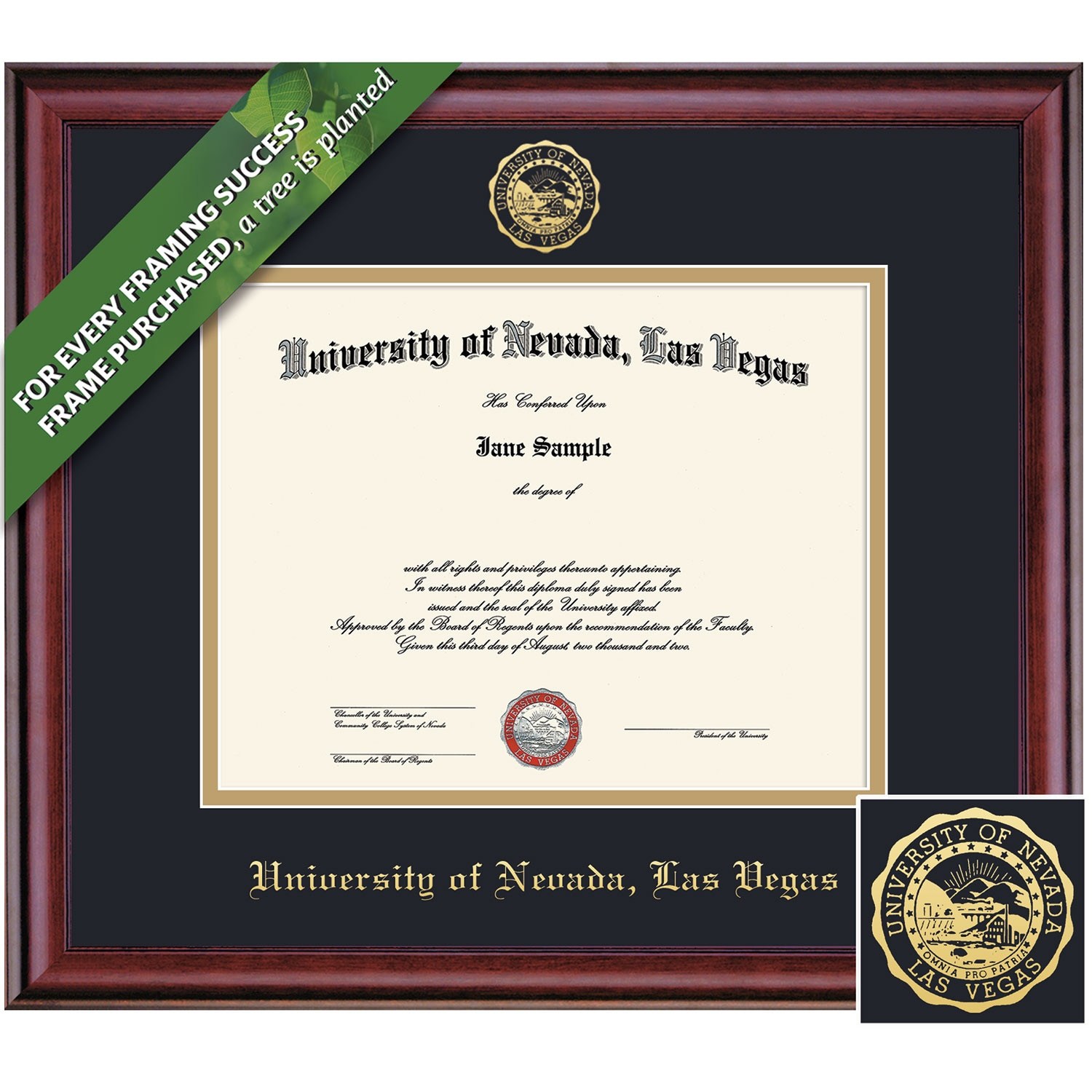 Framing Success 8.5 x 11 Classic Gold Embossed School Seal Bachelors, Masters Diploma Frame