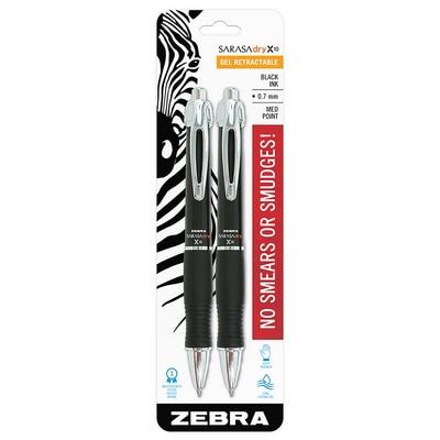 Zebra Sarasa Dry X10 Gel Retractable Pen 0.7mm Black Ink 2 Count
