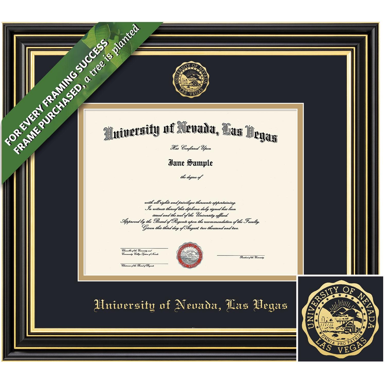 Framing Success 8.5 x 11 Prestige Gold Embossed School Seal Bachelors, Masters Diploma Frame