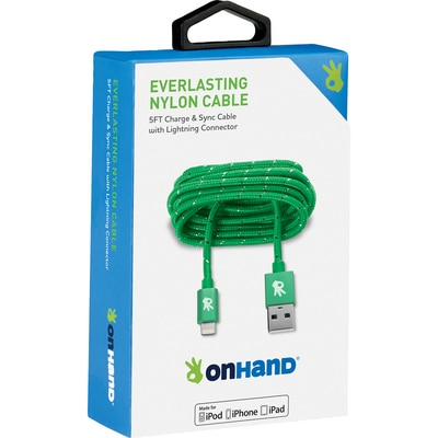OnHand 5 FT Lightning Cable Green