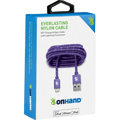 OnHand 5 FT Lightning Cable Purple