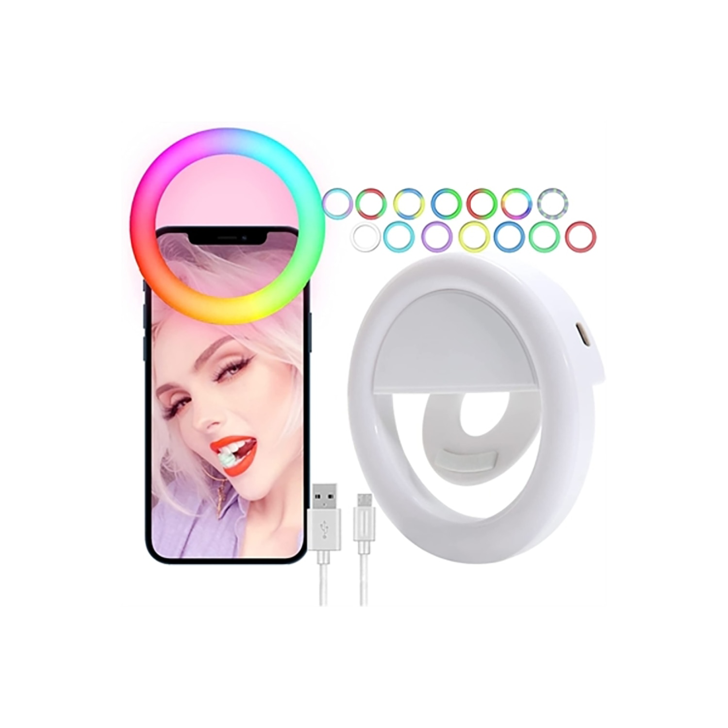 Clip-On Multi Color Selfie Light for your Smartphones. it has 16 color light modes, 3 LED's, and a rechargeable battery.