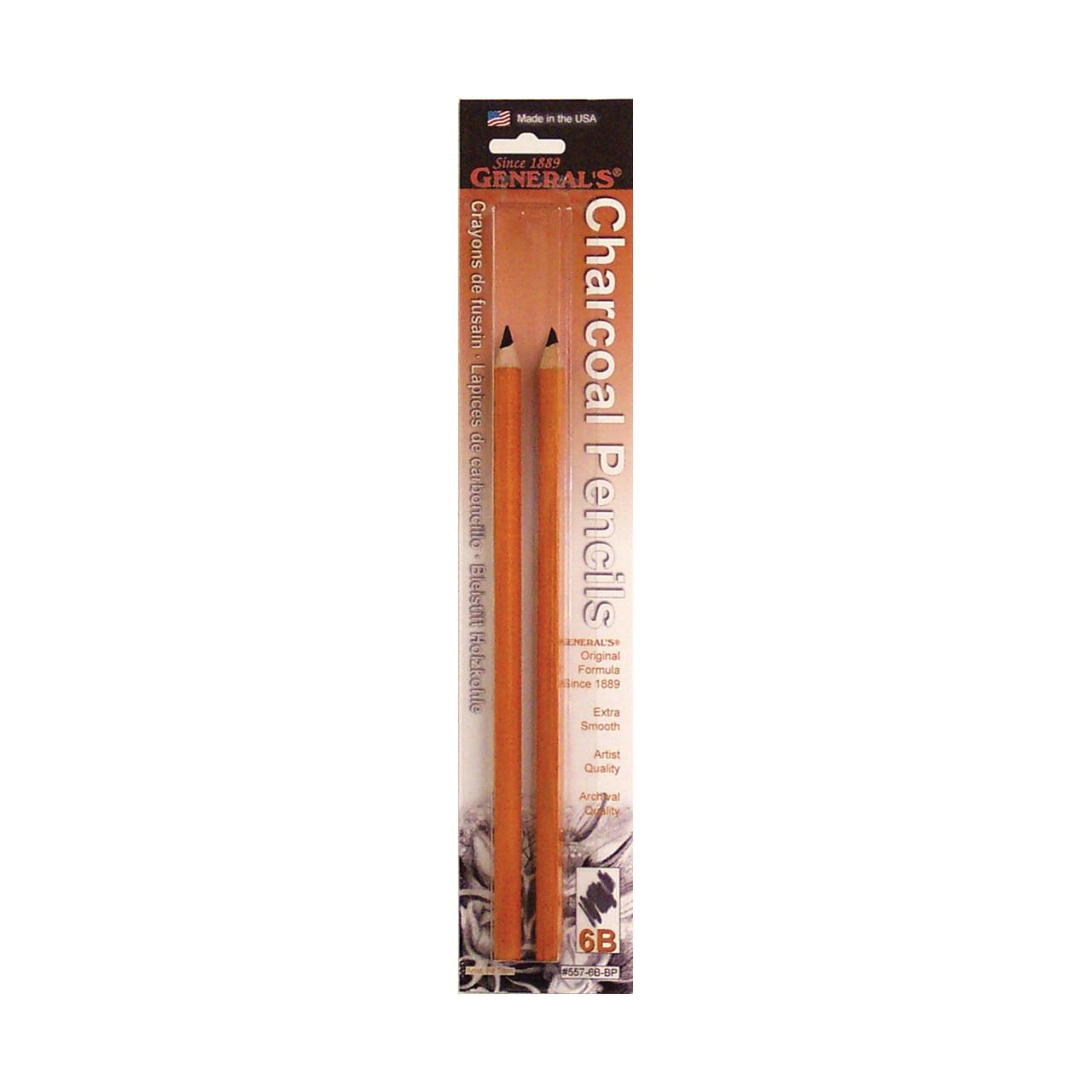 General Pencil Charcoal Pencil 2-Pack, 6B