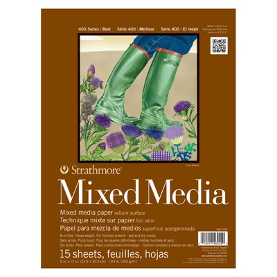 """Strathmore Mixed Media Paper Pad, 400 Series, 9"""" x 12"""", 15 Sheets"""