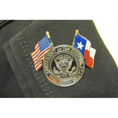 43rd Seal Pin with US and Texas Flags