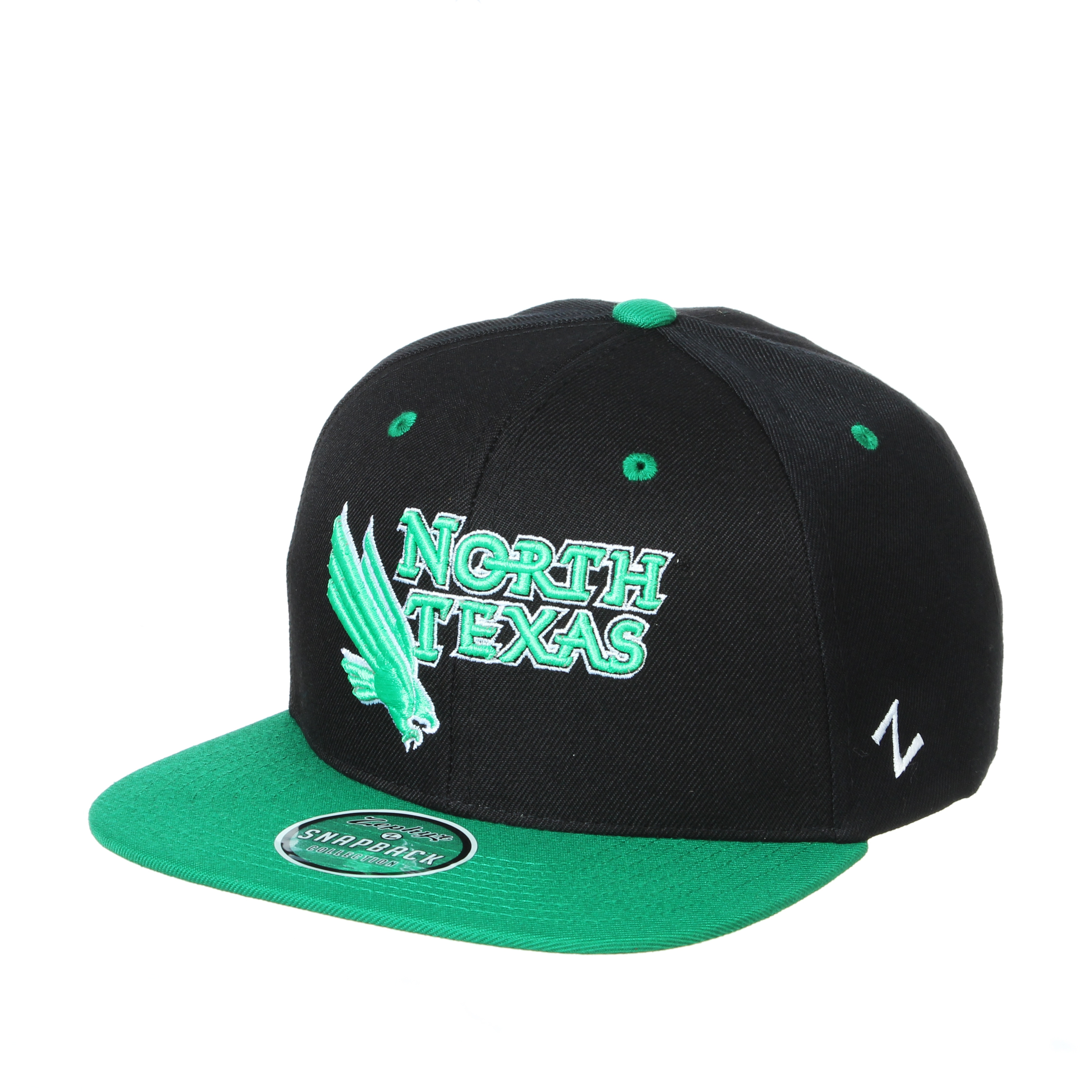 University of North Texas Zephyr Z11 Flat Bill Adjustable Snapback Cap Hat