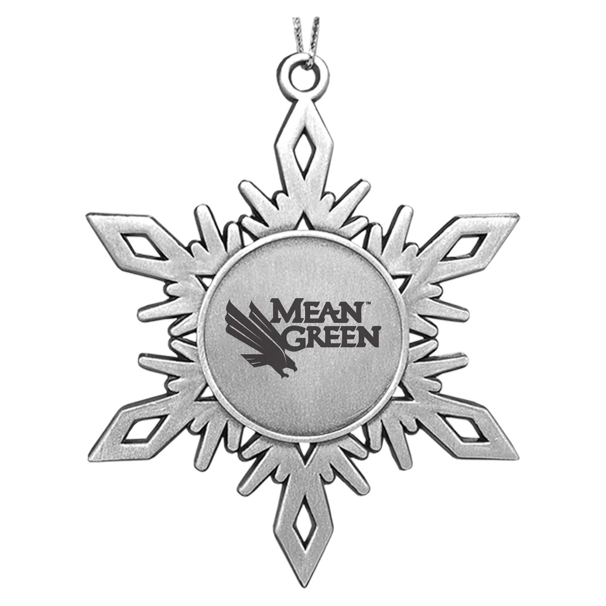 University of North Texas Metal Snowflake Shaped Ornament