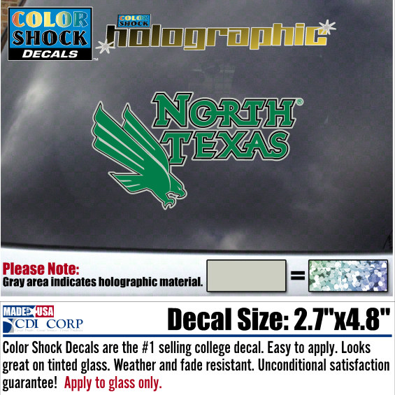 University of North Texas Color Shock Auto Decal