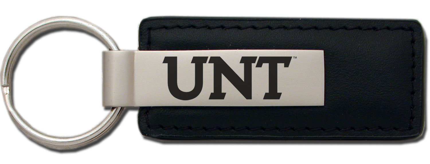 University of North Texas Black Leather Strap Key Tag