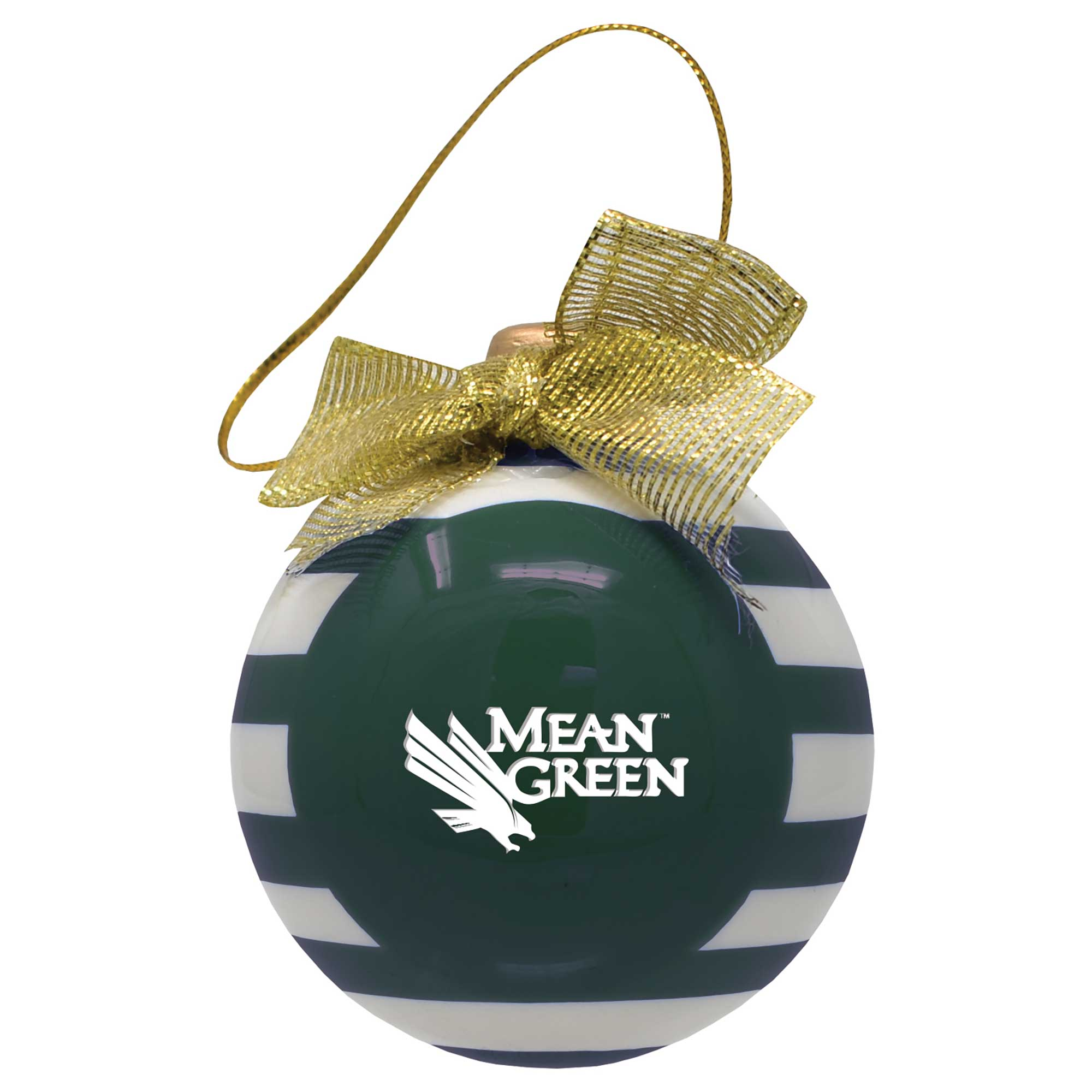 University of North Texas Ceramic Striped Bulb Ornament