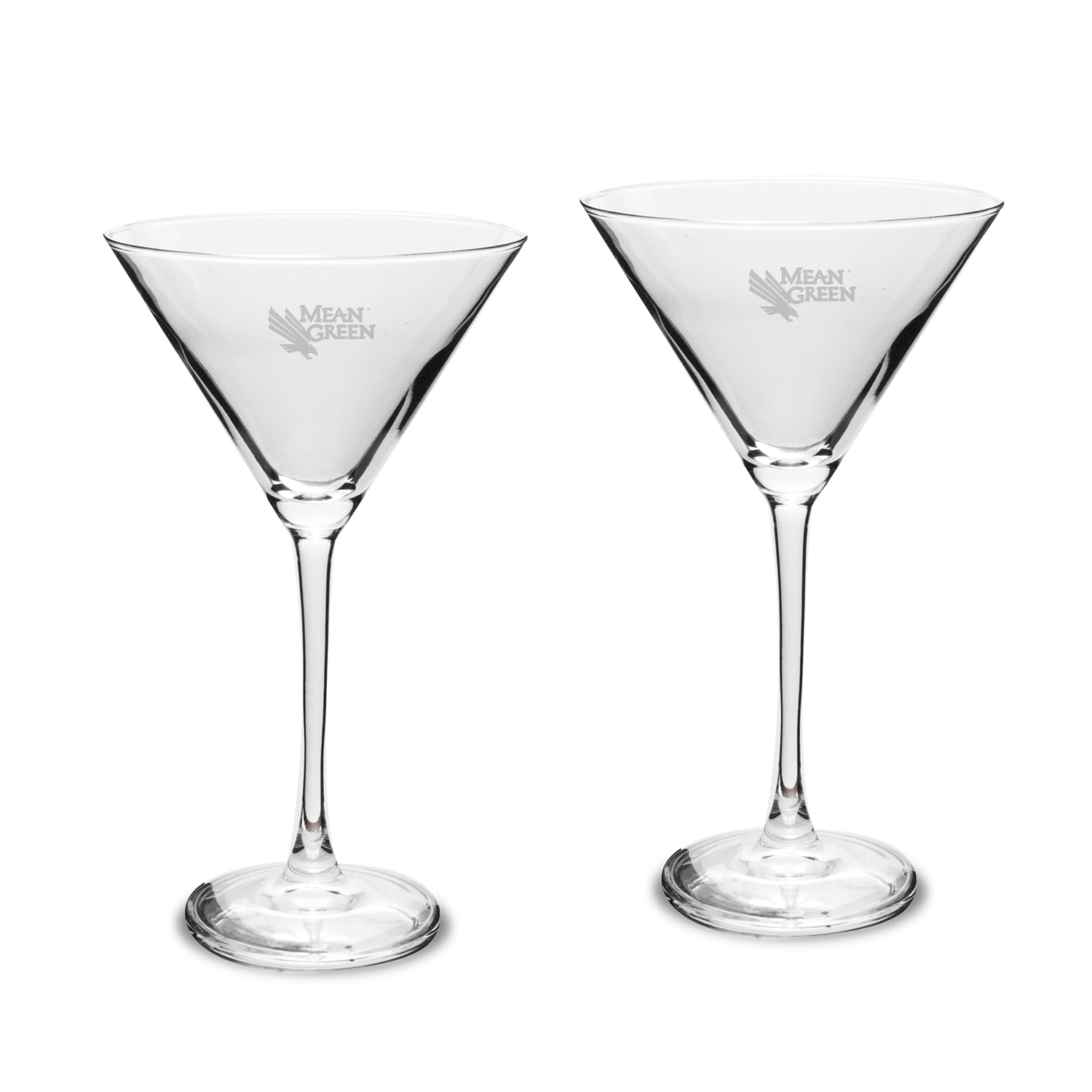 University of North Texas Set of 2 Martini Glass