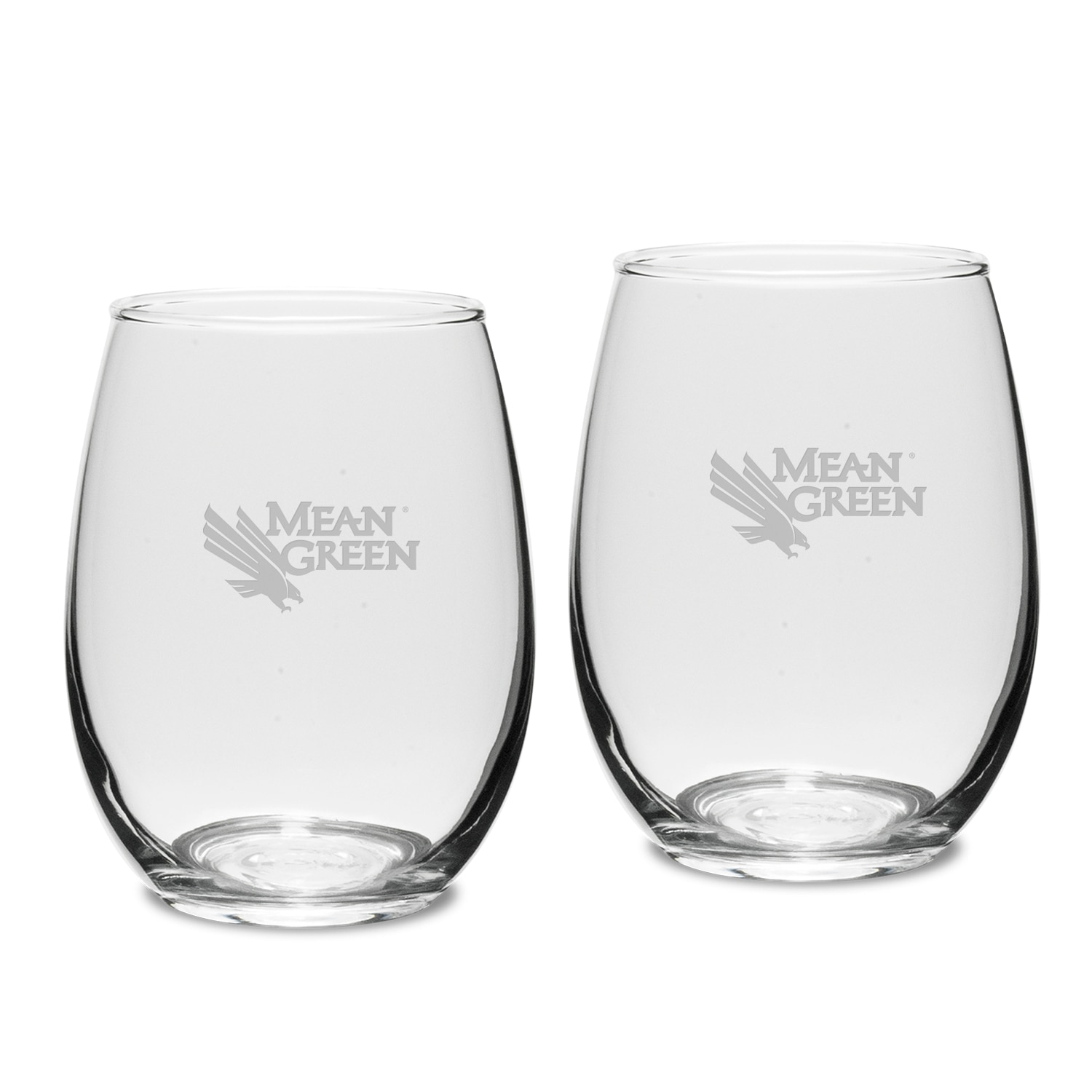 University of North Texas Stemless Wine Glass 2pk