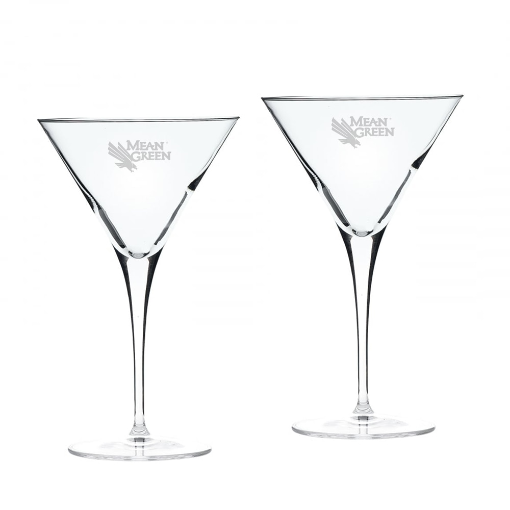 University of North Texas Martini Glass 2pk
