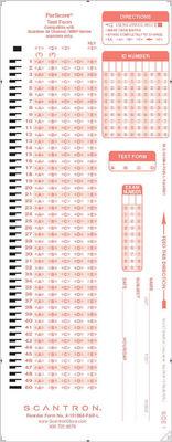 Scantron Form X  101864  PAR  L
