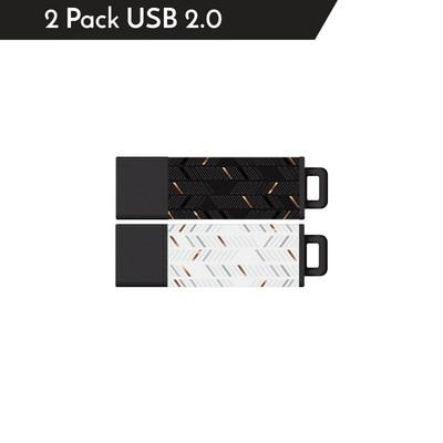 Centon MP VarietyPack USB 2.0 Datastick Pro2 (Metallic Dash Gold White  Gold Black) 16GB 2Pack