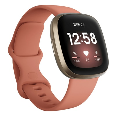 FitBit Versa 3 Health and Fitness Smart Watch in Pink Clay and Soft Gold
