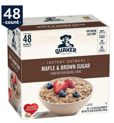 Quaker Oats Oatmeal Maple Brwn Sugar Inst  48ct/1.5oz