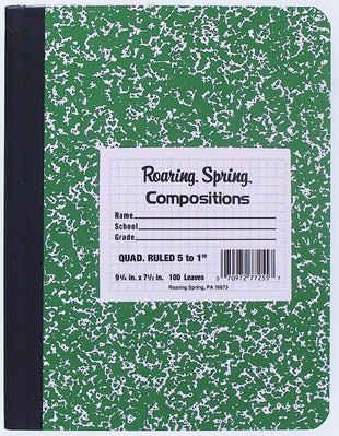 Roaring Spring Hard Cover Composition Book 9.75x7.5 5X5 Graph Ruled 100 Sheets