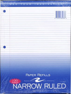Filler Paper 130 Ct Narrow Ruled