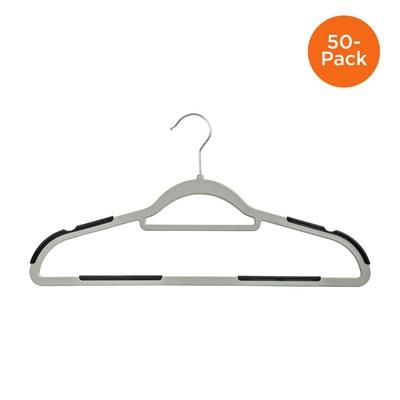 50 Pack Rubber Grip No Slip Plastic Hangers