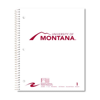 1 sub imprinted notebook.  11x9 College Ruled perfed.  Cover with builtin pocket foil stamped