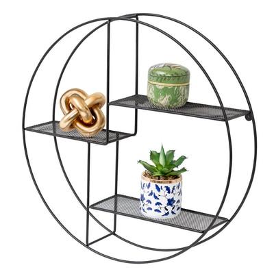 3-Tier Steel Circle Wall Shelf