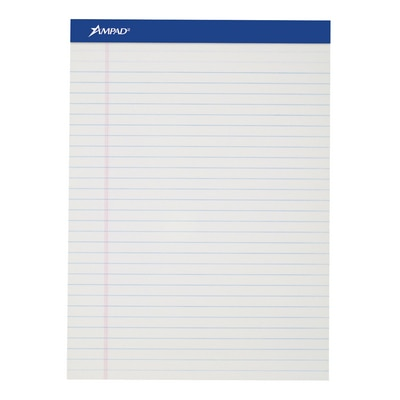 Ampad Perforated Writing Pad 8 12 X 11 34 White Wide Ruled 50 Sheets