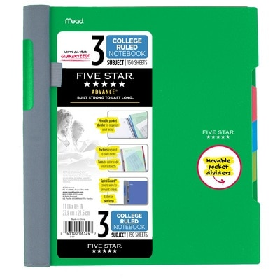 Five Star Advance Wirebound Notebook 3 Subject College Ruled 11 x 8 12 Assorted Colors