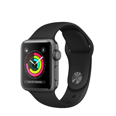 Apple Watch S3 38 mm SG AL Black Sports Band