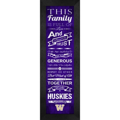 Washington Huskies Framed Print 6 x 22