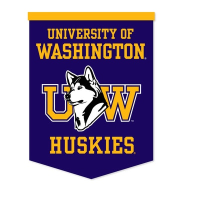 Washington Huskies This wool felt rafter banner is 18in x 24in and