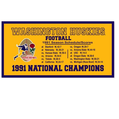 Washington Huskies This wool felt banner is18in x 36in and