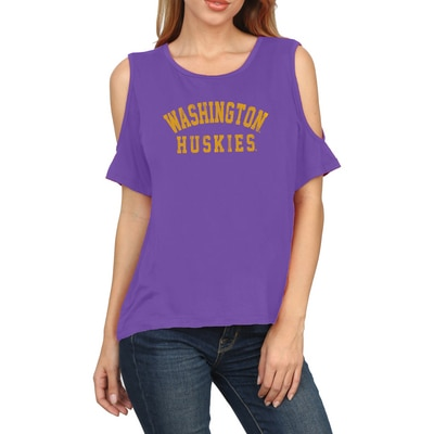 Washington Huskies Rayon Cold Shoulder T Shirt