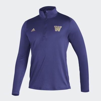 Washington Huskies Adidas Men's Freelift Sport L/S 1/4 Zip T Shirt