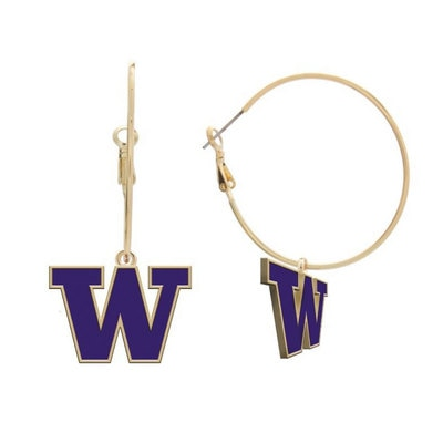 Washington Huskies Hoop Earrings
