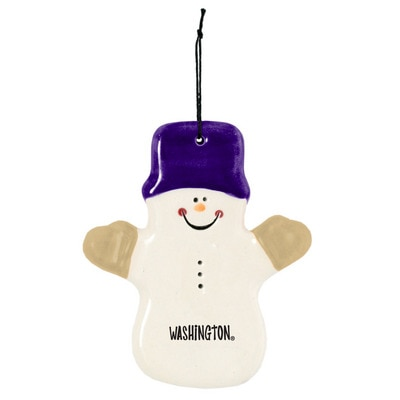 Washington Huskies Ceramic Snowman Ornamnet Claude