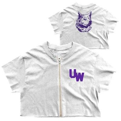 Washington Huskies Crop Zip T Shirt