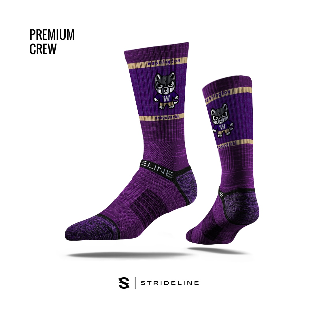 Washington Huskies Zephyr Kanji Tokyodachi Crew Sock