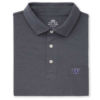 Washington Huskies SOLID SEASIDE POLO WITH POCKET
