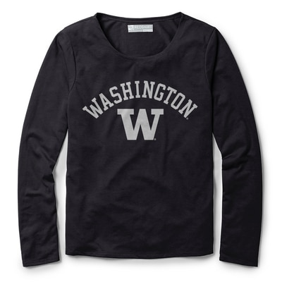 Washington Huskies Red Shirt Athleisure Long Sleeve Breezy Back T Shirt