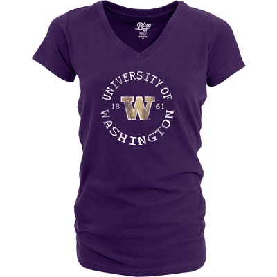Washington Huskies Dyed Ringspun V Neck T Shirt