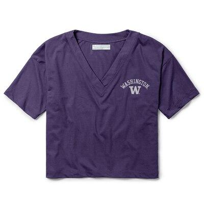 Washington Huskies Red Shirt Athleisure V Neck Crop