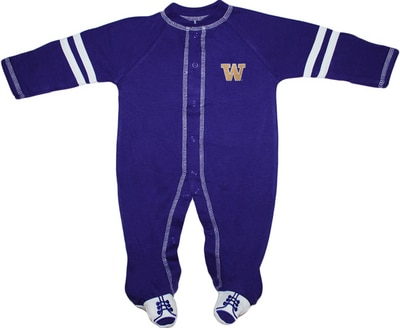 Washington Huskies Creative Knitwear Infant Sports Shoe Footed Romper