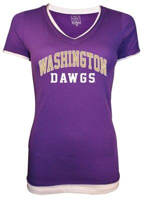 Washington Huskies Layered V Neck Short Sleeve