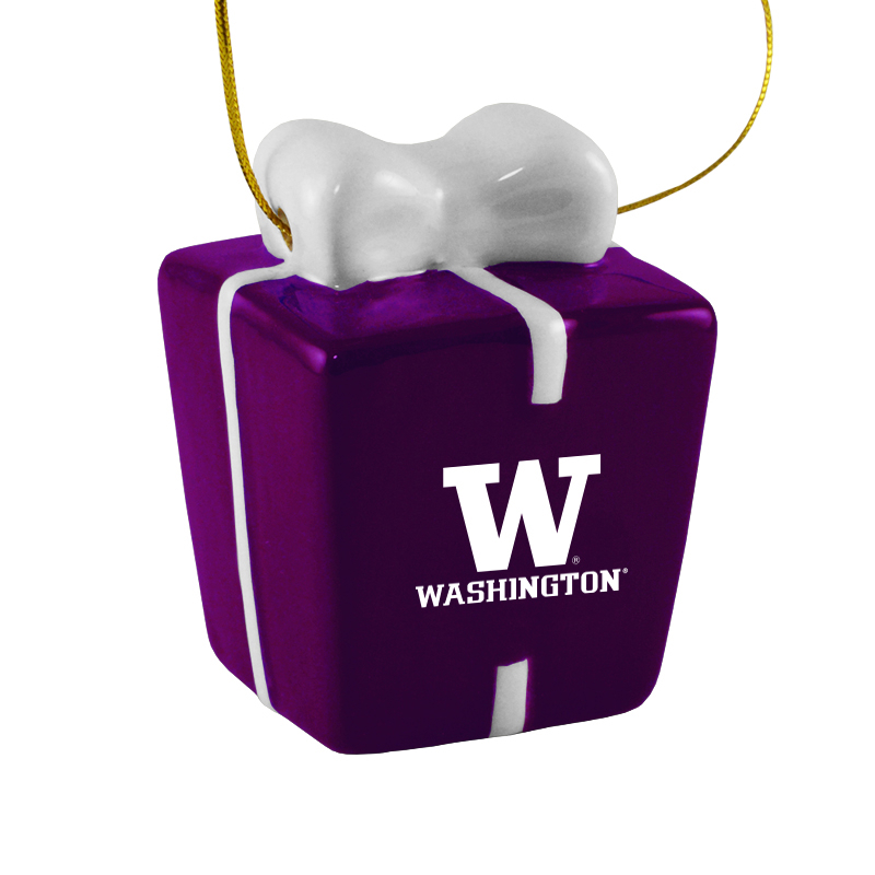 Washington Huskies Ceramic Present Shaped Ornament