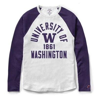 Washington Huskies League All American Ringspun Long Sleeve Baseball T-Shirt