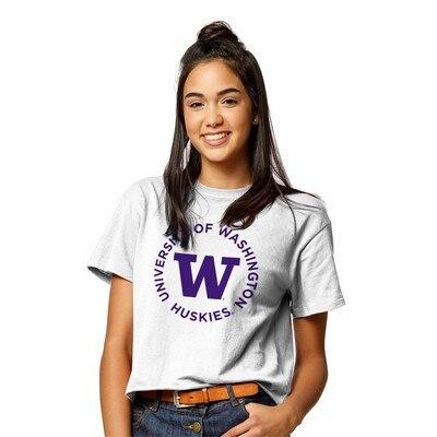 Washington Huskies Womens Clothesline Cotton Crop T Shirt