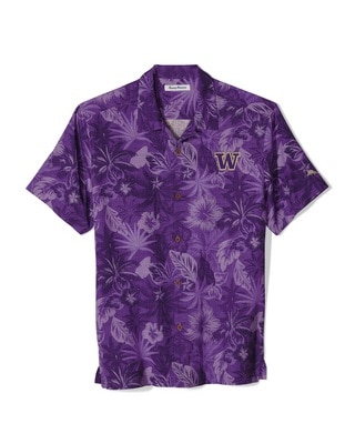 Washington Huskies Tommy Bahama Fuego Floral Woven Shirt