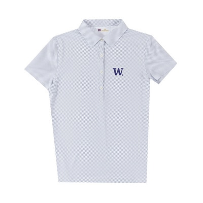 Washington Huskies Womens Ecotec Gingham Polo