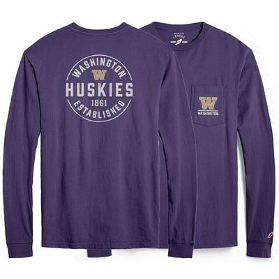 Washington Huskies League Vintage Washed Long Sleeve Pocket T Shirt